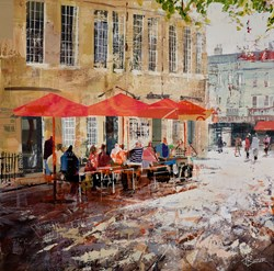 Kingsmead Sun, Bath by Tom Butler - Original Collage on Board sized 24x24 inches. Available from Whitewall Galleries